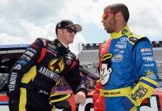 Jeb Burton and Darrell Wallace chat pre-race.